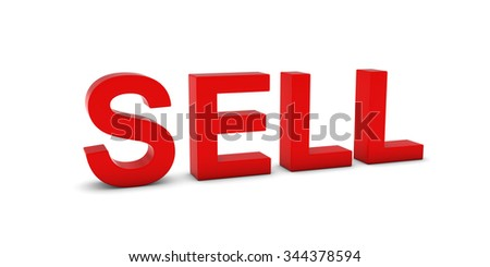 SELL Red 3D Text Isolated on White with Shadows