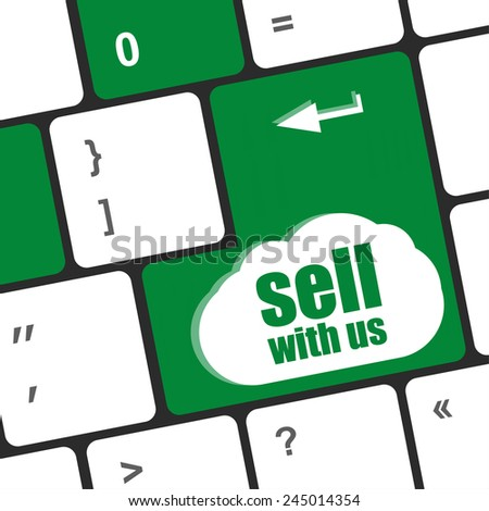 sell with us message on keyboard key, to sell something or sell concept, - stock photo