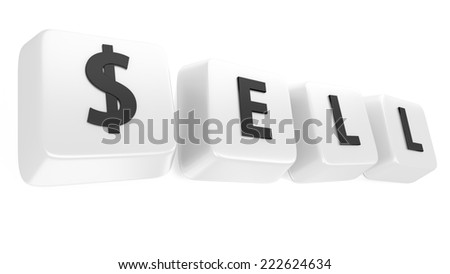 SELL written in black on white computer keys. 3d illustration. Isolated background. - stock photo