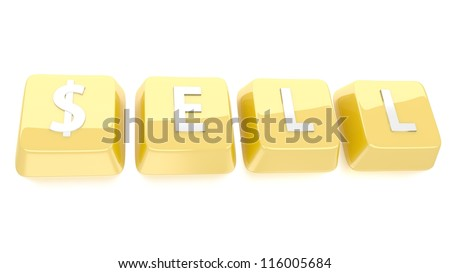 SELL written in white on golden computer keys. 3d illustration. Isolated background. - stock photo