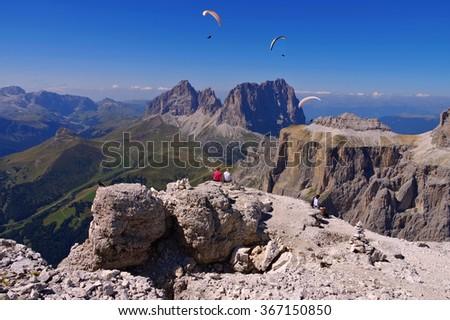 Sella group in Dolomites, italian Alps - stock photo