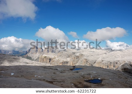 Sella Group situated in Val di Fassa in Italian Dolomites - stock photo