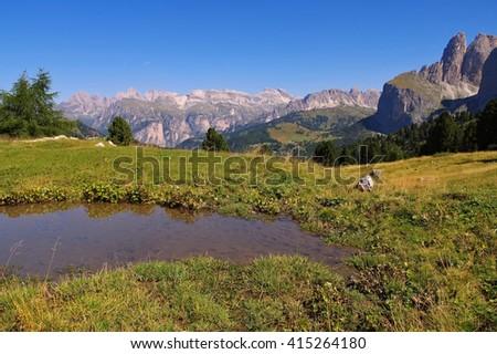Sella pass in Dolomites, italian Alps - stock photo