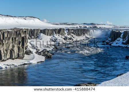Sellfoss and Dettifoss waterfalls - Views around Iceland, Northern Europe in winter with snow and ice