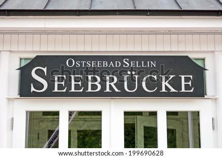 SELLIN, GERMANY - JUNE 23, 2012: Sea spa town Seelin, seabridge restaurant, a famous tourist attraction on the island of Ruegen. - stock photo