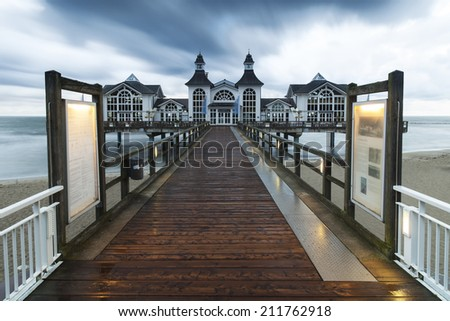 Sellin pier on the Island of R�¼gen, in Mecklenburg-Vorpommern, Germany - stock photo