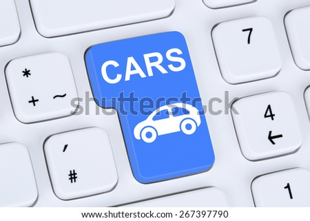 Selling or buying a car online button icon online on the computer - stock photo