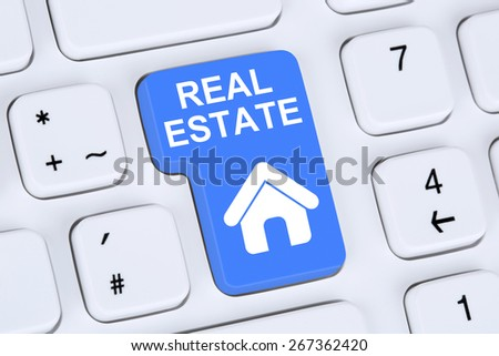 Selling or buying a real estate investment home icon online on the computer - stock photo