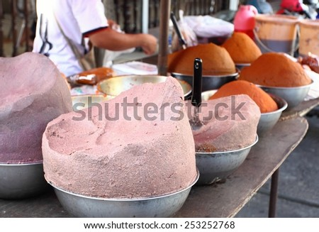 Selling various kinds of curry paste,Thailand - stock photo