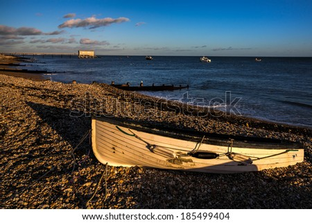SELSEY, SUSSEX/UK - JANUARY 1 : Evening light on the beach at Selsey Bill in Selsey Sussex on January 1, 2013.