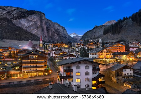 SELVA VAL GARDENA, ITALY - JANUARY 7, 2017: Selva Val Gardena in Dolomites, Italy. Selva is a comune in the Val Gardena in South Tyrol, located about 30 kilometres east of the city of Bolzano.