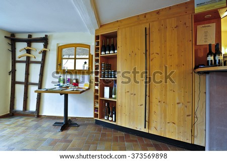 SELZEN,GERMANY-FEB 04:modern interior of old winery KAPELLENHOF on February 04,2016 in Selzen,Germany.