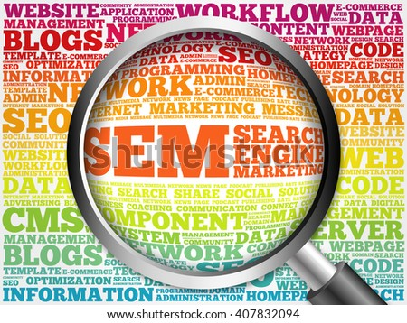 SEM (Search Engine Marketing) word cloud with magnifying glass, business concept - stock photo