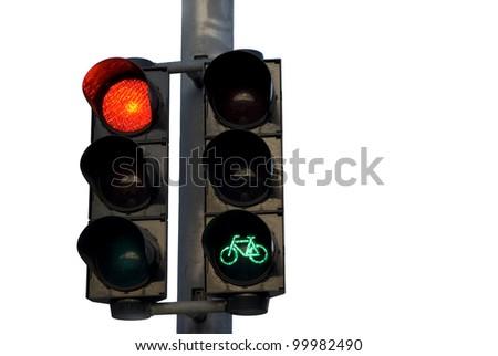 Semaphore, red traffic light, green for bike. - stock photo