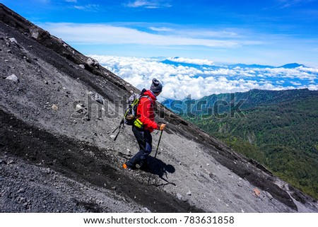 semeru mount hiker during downhill