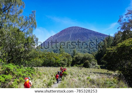 semeru mount peak with bluesky background