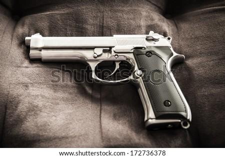 Semi-automatic gun - stock photo