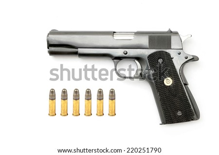 Semi-automatic gun with ammo isolated on white background - stock photo