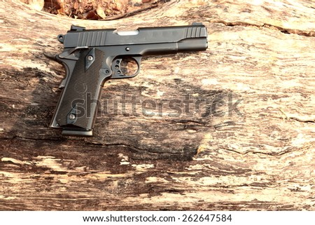 semi Automatic handgun on log - stock photo