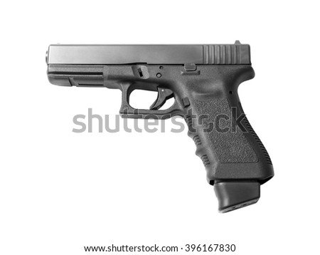 Semi-automatic handgun ready to shoot with high capacity magazine. Isolated on white background.  - stock photo