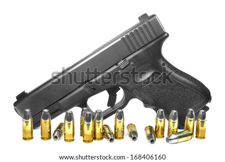 Semi-automatic pistol with lots of ammunition - stock photo