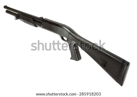 semi-automatic pump action shotgun isolated on white