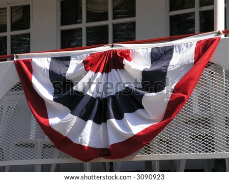 Semi Circle American Banner hanging off railing - stock photo