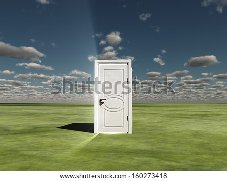 Semi Closed door in ladscape emits light - stock photo