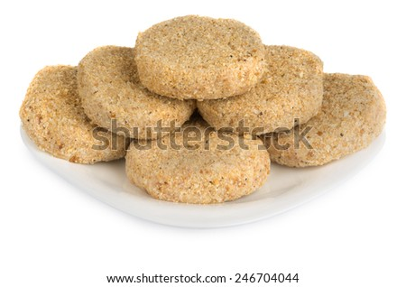Semi patties in plate isolated on white background - stock photo