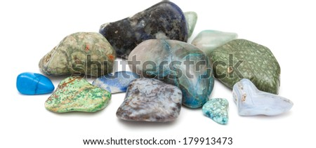 semi-precious stones, blue-green color scheme, isolated on white