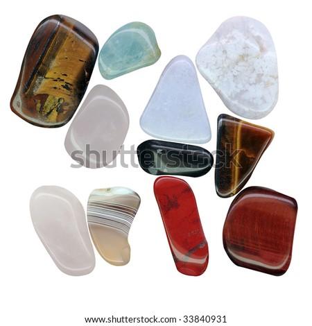 semi-precious stones isolated on a white background - stock photo