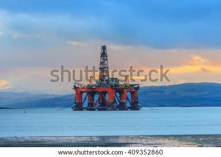 Semi Submersible Oil Rig at Cromarty Firth in Invergordon, Scotland - stock photo