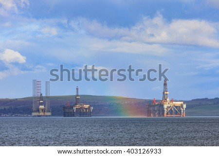 Semi Submersible Oil Rig with rainbow after Raining at Cromarty Firth in Invergordon, Scotland