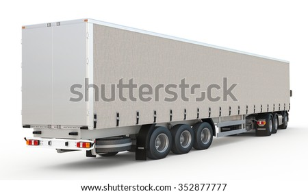 semi-trailer delivery truck on blank background