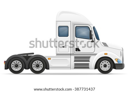 semi truck trailer illustration isolated on white background