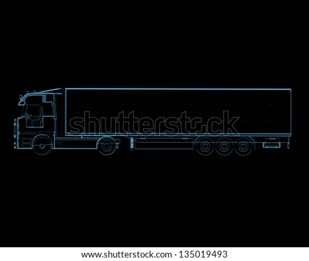 Semi truck with trailer (3D xray blue transparent isolated on black background)