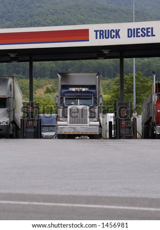 Semi Trucks Fueling - stock photo