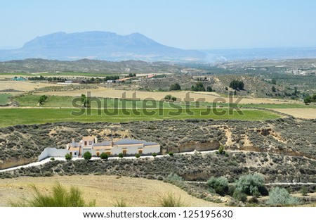 Semiarid plateaus and mountains dominate in Spain. - stock photo