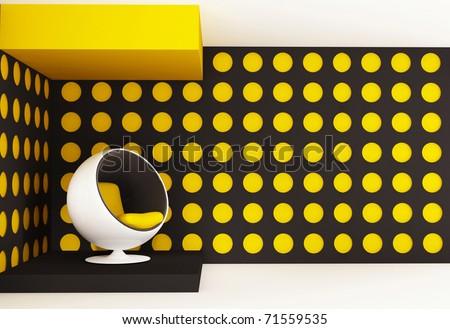 semicircular armchair in design interior. Cosmic environment - stock photo