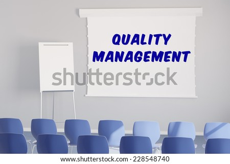 Seminar about quality management in a meeting room (3D Rendering) - stock photo