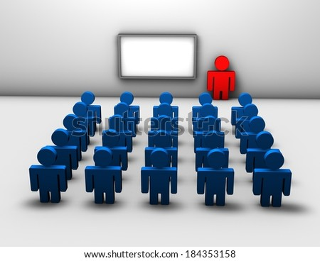 seminar, business training 3d abstract concept - stock photo