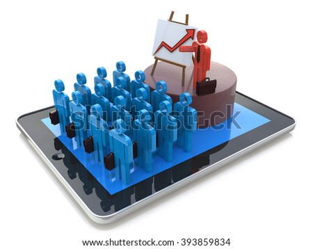 Seminar concept: online business training, coaching, webinar in the design of information related to coaching - stock photo