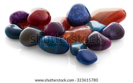 Semiprecious stones isolated on white background - stock photo