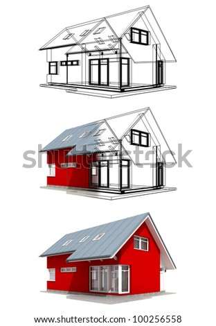 Semitransparent render of red house with black outlines, three versions
