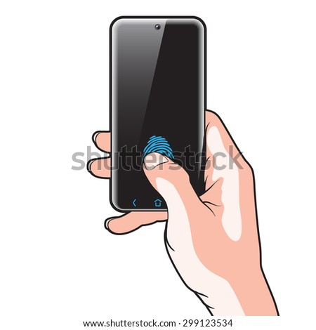 Semitransparent Smartphone with Red Button in Hand - stock photo