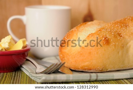 semolina bread loaf for breakfast served with butter