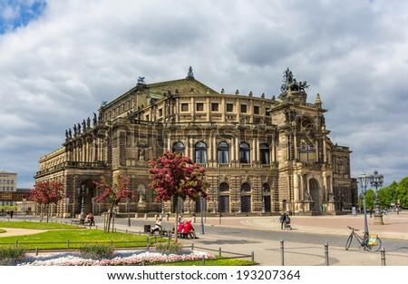 Semperoper, an opera house in Dresden, Saxony - stock photo