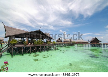 Semporna, Malaysia - October 30, 2010: Kapalai Dive Resort is a luxury water village built on stilts over the sandbanks of the Ligitan reefs and located only a few minutes by boat from Sipadan/Mabul