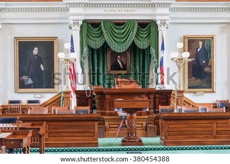 Senate Chamber in Texas State Capitol in Austin, TX - stock photo