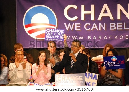 Senator Barack Obama campaigning for president - stock photo
